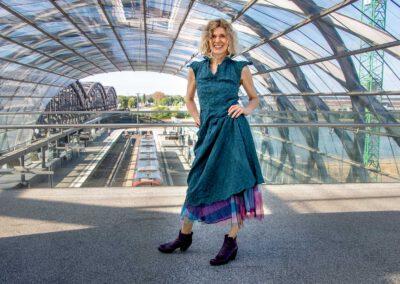 Kleider von Ewa Kuich Baumwollkleid bis über Knie, Schmetterlingsärmel… Rock drunter