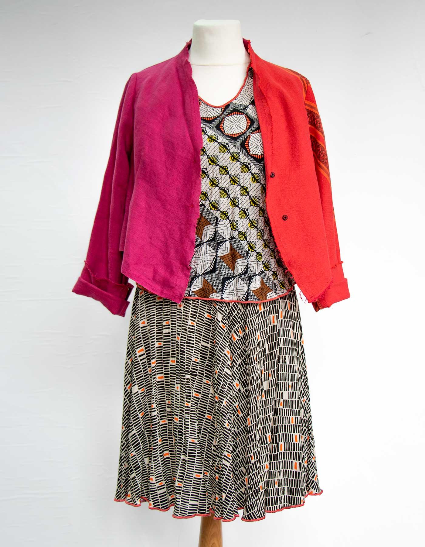 Kleider von Ewa Kuich Karotop aus Baumwolle Patchwork und Rock Upcycling Altes + Neues Leinen